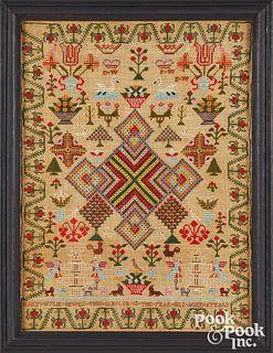 Vibrant English silk on linen sampler, dated 1822