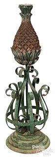 Wood and iron pineapple architectural element