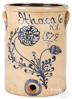 NY stoneware water cooler, dated 1879 Ithaca