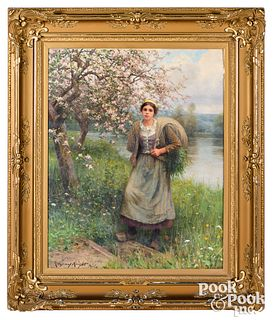 Daniel Ridgway Knight oil canvas Apple Blossoms