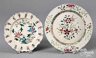 Two Staffordshire salt glaze stoneware plates