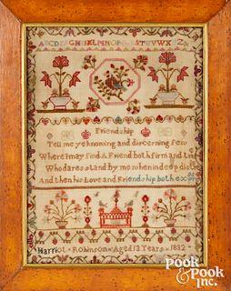 English silk on linen sampler, dated 1832