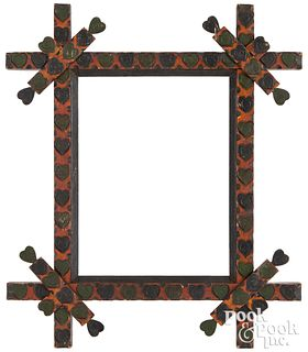Painted tramp art frame, late 19th c., with hearts