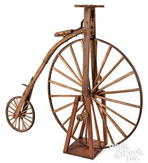 English wood and wrought iron boneshaker bicycle