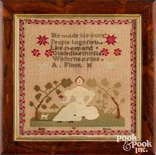 English wool needlework, mid 19th c. with dog