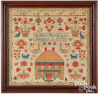Woolhouse sampler, 1890, wrought by schoolboy
