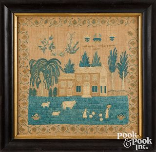 American silk on linen sampler, dated 1827