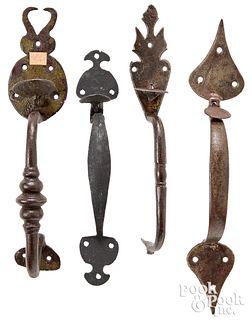 Four wrought iron thumb latches