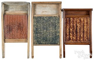 Three washboards, 19th c., Bennington redware