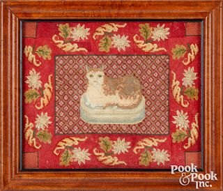 Two Victorian needleworks of a cat and dog