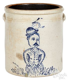 Stoneware crock probably Ohio man in hat