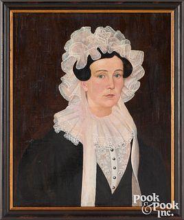 American oil on canvas folk portrait of a woman