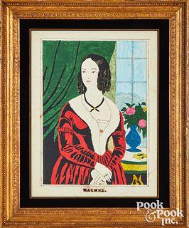 American watercolor portrait, titled Rachel