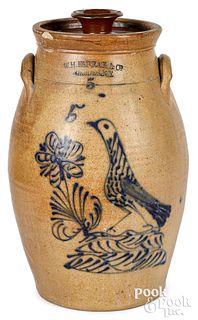NY stoneware churn, W.H. Farrar bird & flower