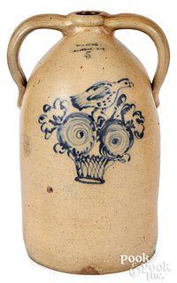 NY stoneware two-handled jug, W-A-Lewis bird