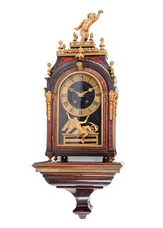 A Napoleon III Style Gilt Bronze and Red Tortoiseshell Bracket Clock with an Associated Bracket
