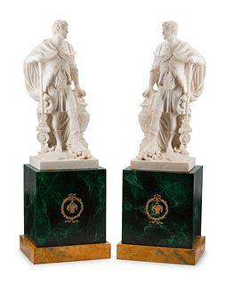 A Pair of Composition Marble Figures with Faux Marble Painted Bases