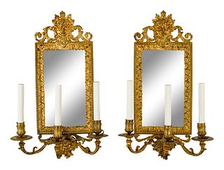 A Pair of Continental Mirror-Inset Gilt Brass Three-Light Girandoles