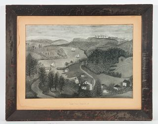 FOLK ART VIEW OF RIVER NEAR NORWICH, CONNECTICUT, CIRCA 1840