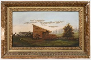 FOLK ART PAINTING OF AN OUTBUILDING