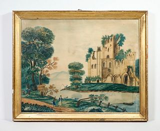 LATE 19TH C. ENGLISH NAIVE LANDSCAPE FROM DAVID ROCKEFELLER COLLECTION