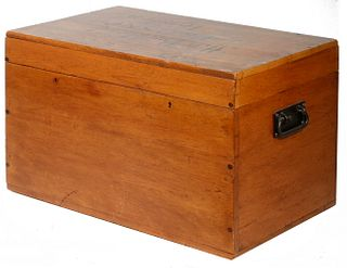 EARLY DOVE TAILED WOODEN STORAGE CHEST