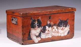 EARLY PINE BOX WITH PAINTED CATS