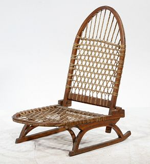 MAINE MADE SNOWSHOE SEAT BY W.F. TUBBS OF NORWAY, ME.
