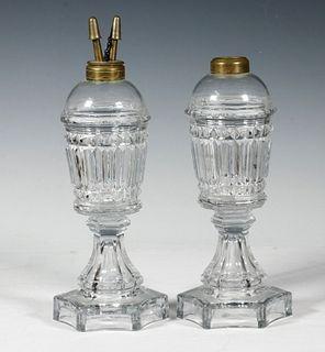 PR OF FLINT GLASS WHALE OIL LAMPS