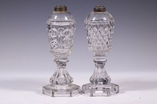(2) PATTERN GLASS WHALE OIL LAMPS