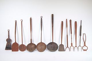 (12) EARLY HEARTH UTENSILS