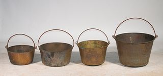 (4) BRASS BUCKETS WITH HANDLES
