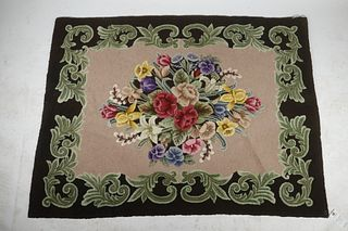 """EARLY 20TH C. FLORAL HOOKED RUG - 45"""" x 48"""""""