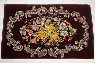 """EARLY 20TH C. FLORAL HOOKED RUG - 30"""" x 48"""""""