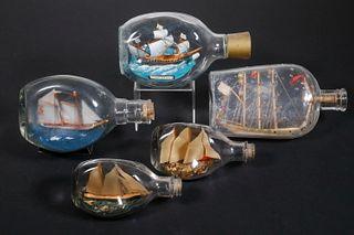 (5) SHIPS IN BOTTLES