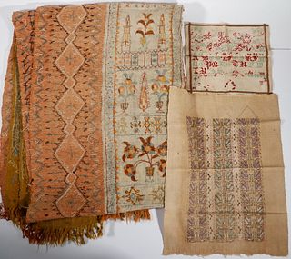 (3) TEXTILES, INCL. OTTOMAN EMBROIDERED COVERLET