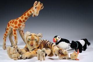 (8) STUFFED ANIMALS, MAINLY STEIFF