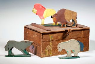 PAINTED FOLK ART TOY BOX WITH WOODEN ANIMALS