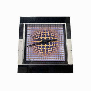 Encased Victor Vasarely Tabletop Clock