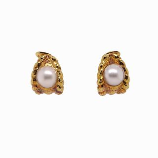 David Webb 18k Gold Mabe Pearl Clip Earrings