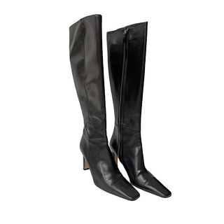 Vintage Chanel Tall Black Leather Boots