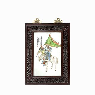 Chinese Porcelain Plaque Hand Painted Warriors