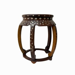 Chinese Solid Wood Inlaid Mother of Pearl Stool