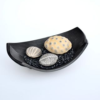 Burnished Black Folded Dish with Seed Pod Trio