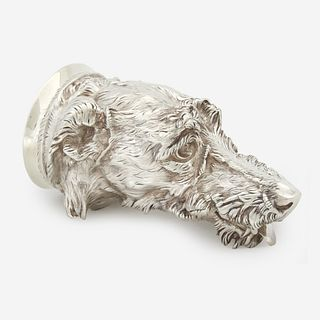 A Victorian sterling silver otter hound-form stirrup cup James Barclay Hennell, London, 1878