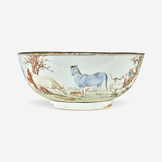 A Chinese Export porcelain gilt and polychrome-decorated punch bowl circa 1760