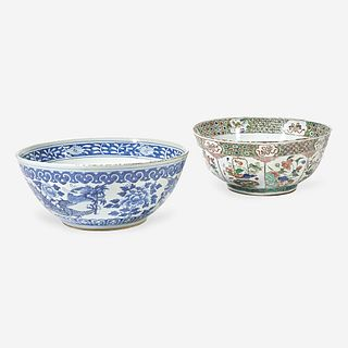 Two Chinese Export porcelain punch bowls 18th and 19th century