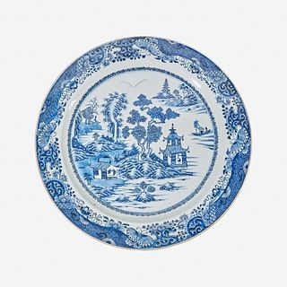 A large Chinese porcelain blue and white charger 18th/early 19th century