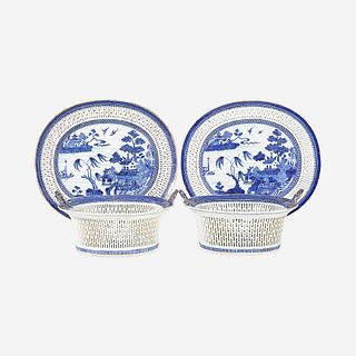 A pair of Chinese Export porcelain gilt-decorated blue and white reticulated baskets and stands circa 1800