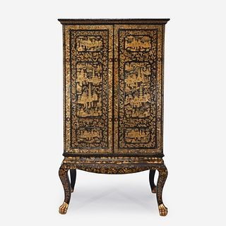 A large Chinese Export black lacquered cabinet first half 19th century